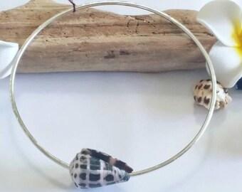 Hawaiian Hebrew Cone Shell Sterling Silver Bangle Bracelet