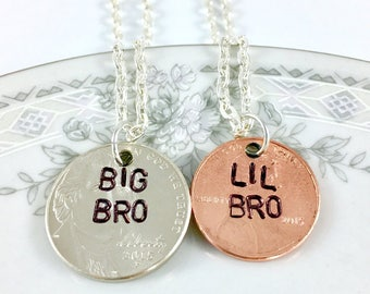 Big little necklace, Big brother little brother, Gifts for brother, Big brother little sister, Siblings necklace 3 brothers, Lil bro