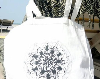 Cat's Reincarnation Mandala, Tote Bag, 100% cotton, black and white, Mandala, cats, fine art, drawing, beach bag, cat lovers, psychedelic