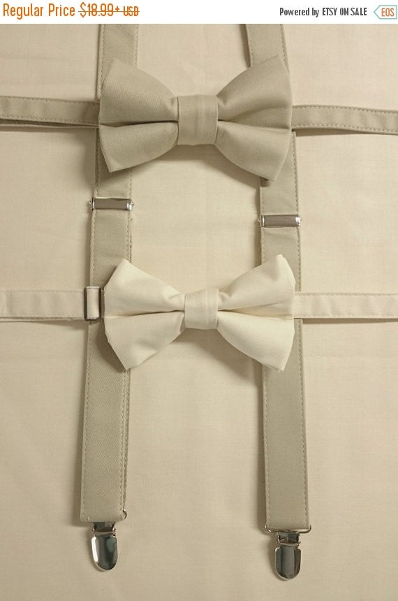 Winter Sale Children's & Adults Suspenders in Soft Taupe Cotton Sateen