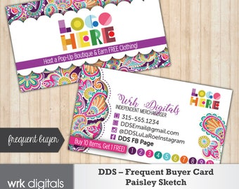 Dot Dot Smile Frequent Buyer Business Card, Paisley Sketch Design, Customized Business Card, Direct Sales, Fashion Consultant