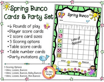Spring Bunco Cards & Spring Bunco Scorecards With Party Invitations