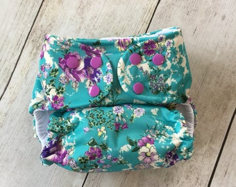 Cloth Diaper *One size or Newborn* All in two, Pocket, or Cover **Vintage Floral**