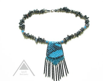 Black turquoise leather necklace fringe trending necklace geometric jewellery eco-friendly tribal jewelry snake print necklace stunning gift