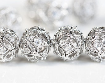 2460 Silver cz beads 10.5X12 mm Cubic zirconia beads Round spacer beads Rhodium plated beads Jewelry spacers Silver bead spacers 1 pc