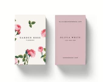 Sale 20%-Printable Business Card Design // Vintage flowers print design //INSTANT DOWNLOAD