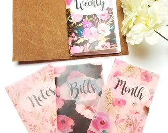 Peach Pink Florals Planner Dashboards For TN's and Midori Travelers Notebook V127