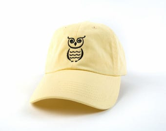 Owl Hat, Owl Dad Hat, Owl Baseball Cap, Embroidered Baseball Cap, Adjustable Strap Back Baseball Cap, Low Profile, Pastel Yellow
