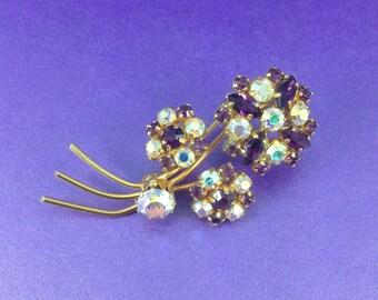 Vintage Crystal Brooch, AB Crystal Gold Tone Brooch, Austrian Crystal, Purple Crystal Brooch