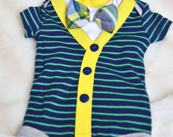 infant cardigan with bow tie - navy/green/yellow