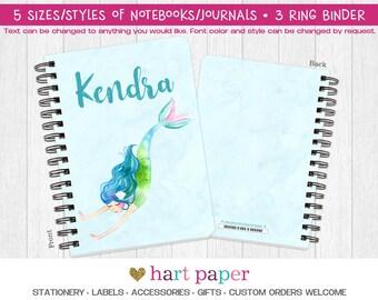 Mermaid Spiral Coil Bound Notebook Journal Diary 3 Ring Binder Gift Name Back to School Supplies Teacher Birthday Girl Kids Adult Custom
