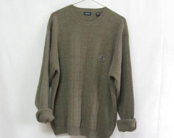 Vintage Men's Medium Textured Brown IZOD Sweater with Embroidered Logo Boyfriend Tomboy Oversized Cotton Sweater