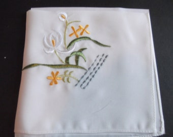 Floral Pattern Hand Embroidered Woman's Hankie Collectible Shabby Chic Estate Sale New