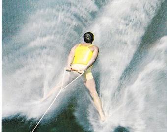 Vintage  Backwards Water Skiing  Postcard 1950's Paper Ephemera Cypress Gardens Postcard