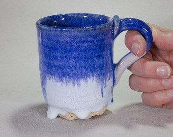 Small Blue and White Mug with Flowing Glaze