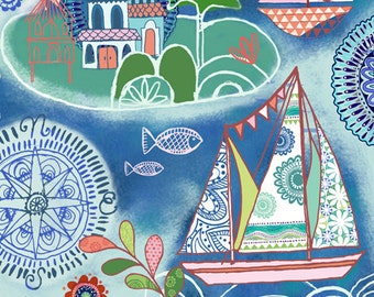 Quilting Treasures - Dream Boats - 1649-24342-W - Janet Broxon - Boats - Blue - Sailboats - Compasses - Vacation- Sailing - - One More Yard