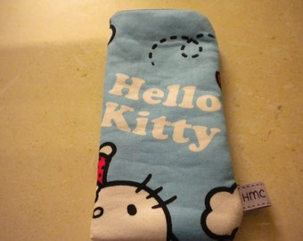 Glasses Case - Hello Kitty Print.  Blue Lining.  Soft cotton fabric, padded, lined.  Velcro Closure.