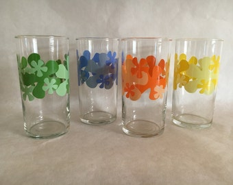 Libbey Mod Flower Glasses Set of 4