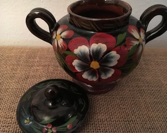 Mexican Redware Pottery Jar with Lid Black Glaze Painted Floral Design