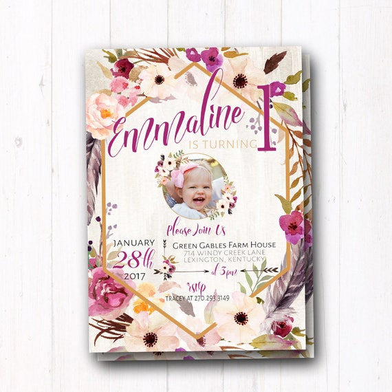 Boho Chic Birthday Invitation Bohemian baby girl Boho Wild One