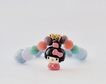 KITTY KIMONO , beaded bracelet, charm bracelet, hello kitty bracelet