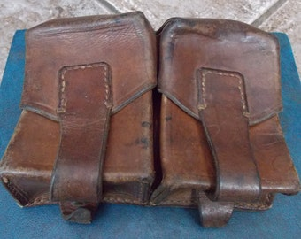Superb Post WW2 Cold War Period Soviet Eastern Block Real Leather Dual AMMUNITION POUCHES