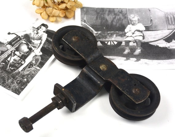 Antique Sliding Barn Door Pulley Vintage Metal Rollers