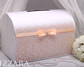 Card box for wedding Peach HAND Painted Personalized wedding gift Money box Gift card holder Wedding boxes Wedding ideas peach inspiration