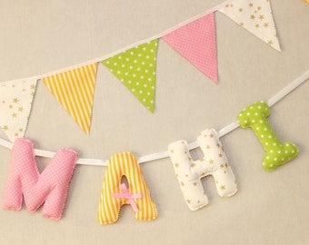 Personalized Baby Name Banner, Pink & Gold Name Sign, Peppa pig birthday, Pink, Green, Baby Shower, Peppa Pig Party,Nursery Wall Hanging,