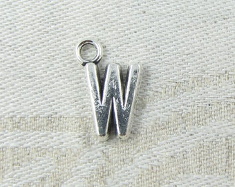 "Silver Letter ""W"" Charms, 1 or 5 letters per package  ALF013w"