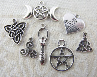 7-pack Sampler - Wiccan Symbol Silver Charms, COL014