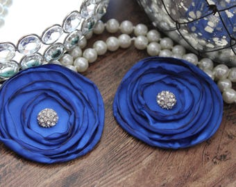 "SET OF TWO - 3"" Royal Blue Layered Burned Edge Satin Flowers - Metal Crystal Center Accent- Hair Accessories- Wedding - TheFabFind"