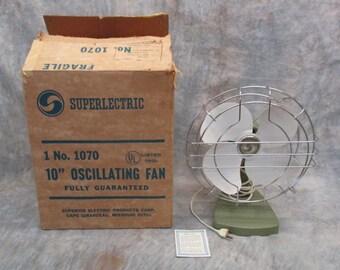 "1970 Superlectric Fan New/Old Stock 10"" Oscillating Blades ORIGINAL BOX Avocado"