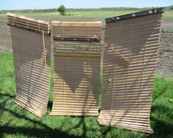 """3 Real Wood 2"""" Blinds Home Furnishing Decor Window Coverings 31"""" Wide Vintage"""