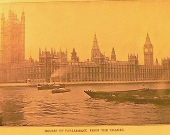 1905 British Houses of Parliament Matted Antique Stoddard Print