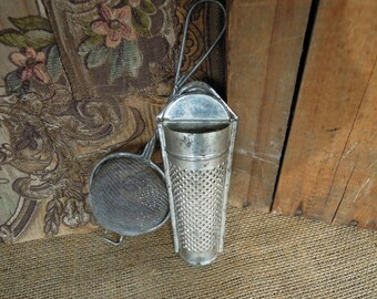 Vintage Nutmeg Grater / Tin Grater / Grater With Lid / Small Metal Strainer