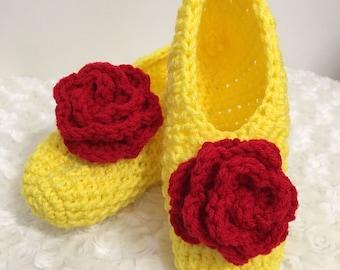 Belle crochet slippers!