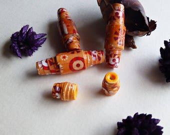 Set of 5 scrapbooking paper beads, orange, 1.37