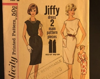 Vintage Simplicity Pattern, Jiffy #4429- cut once- great condition- Multi Purpose Dress pattern- Size 18, Bust 38