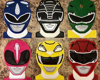 Power Rangers Inspired Iron On Appliqué - Red, Green, Blue, Black, Pink, and Yellow.