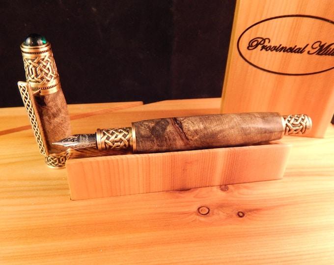 Celtic Fountain Pen with Buckeye Burl #FP10101