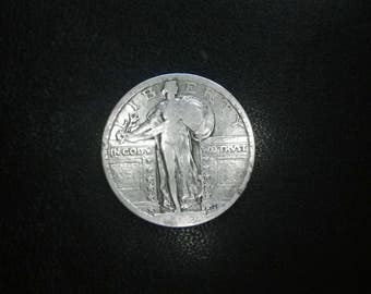 1919 p standing Liberty US silver Quarter  (partial date) hard to find