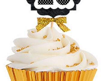 25th Birthday / Gold Ribbon with Polka Dot Numbers Cupcake Picks / Toppers -12ct.
