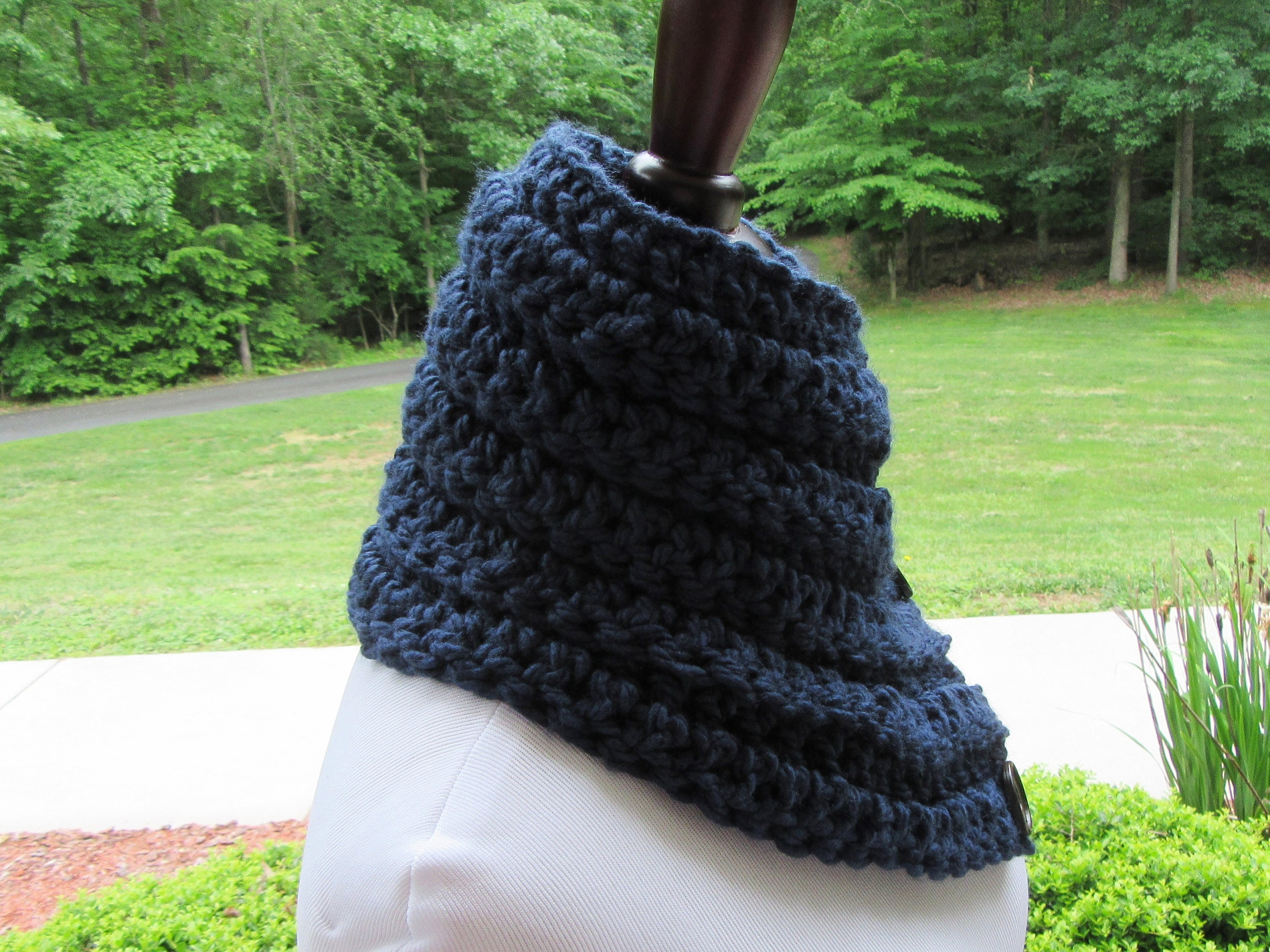Navy Blue Cowl, Boston Harbor Scarf, Crochet Cowl, Chunky Blue Scarf ...
