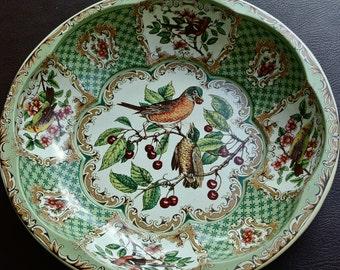 Vintage Daher Bowl, 1970s Metal Bowl, Green Litho Tin Bowl, Floral Metal Bowl, Daher Bird Bowl, Daher Tin Bowl