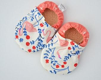 Flamingo Baby, baby shoes, baby moccs, flamingo, pink baby shoes, pink baby moccs, organic baby clothes, organic baby shower gift