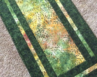 Green table runner, batik table runner, batik table mat, quilted table runner, coffe table runner, green batik runner