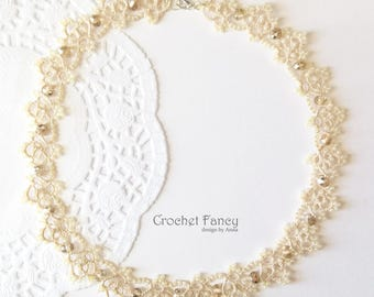 Cream lace choker, Vintage wedding, Tatted jewelry, Tatting lace, Beaded necklace, Gift for her