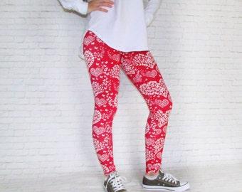 Leggings - Heart Leggings - Mothers Day Gift - Mothers Day Outfit - Womens Yoga Leggings - Printed Art Leggings - Fashion Leggings - Yoga