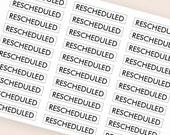 30 black rescheduled stickers, plan stickers, header stickers, transparent clear stickers, planner stickers eclp filofax happy planner